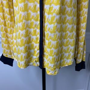 Anthropologie Tops - Anthropologie Maeve yellow horse button front top